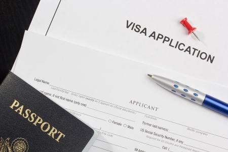 Directement au-dessus photographie d'une demande d'un visa.