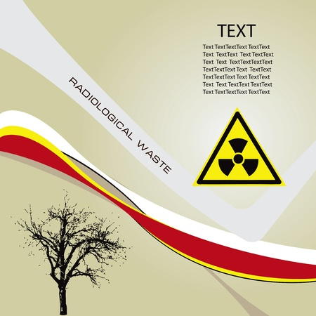 radioactive symbol: Antecedentes de residuos de radiaci�n con un s�mbolo de peligro radiactivo. ilustraci�n vectorial.