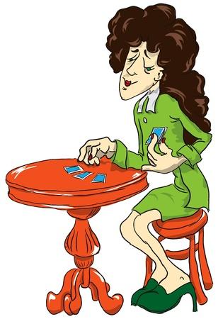 adivino: Fortune Teller en la mesa de juego con las cartas. Ilustración del vector.