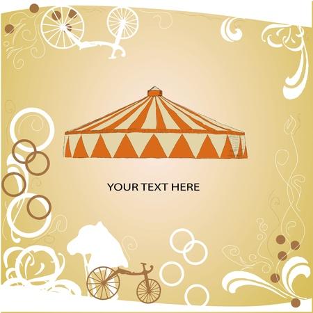 テキスト用のスペースとサーカスのテント。ベクトル イラスト。