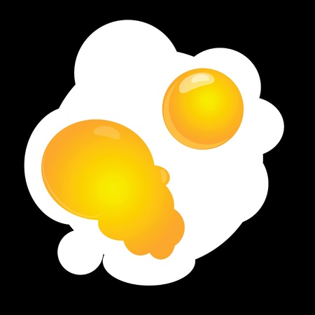 Scrambled eggs with two yolks damaged. Vector illustration.