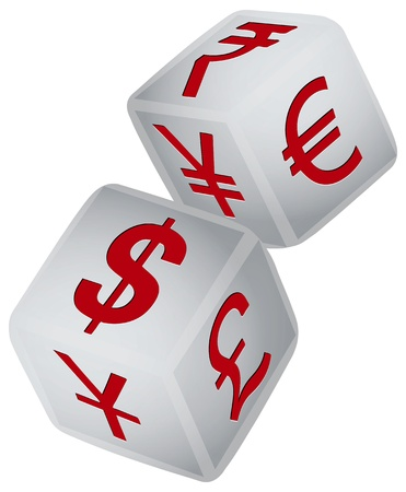 foreign exchange: Set of two gaming dice with symbols of the worlds major financial exchange. Vector illustration.