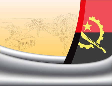 Flag of Angola and the farmhouse under a thatched roof. Vector illustration. Stock Vector - 13000101