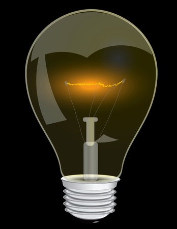 Lamp with a glowing filament. Vector illustration. Illustration