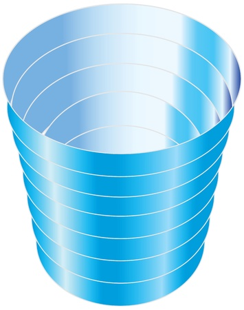 Blue plastic cup for cold drinks. Vector illustration. Ilustração