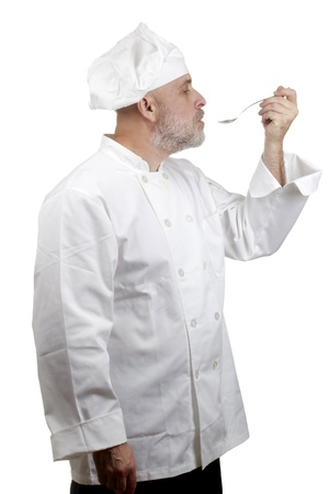 Portrait of a caucasian chef in his uniform on a white background. Stock Photo - 13000110