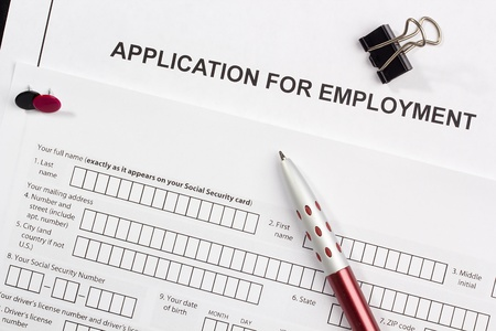 Directly above photograph of a job application. Stock Photo - 13000168