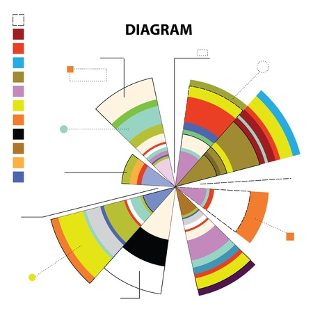 Construction Of Abstract Color Pie Chart Consisting Of Segments