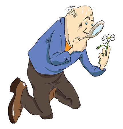 A scientist examines a daisy with a magnifying glass. Vector illustration. Vector