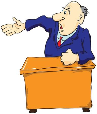 superintendent: Jefe enojado en la mesa.