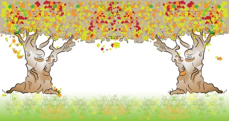 Autumn, the two old trees make up the frame. Ilustração