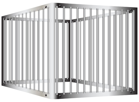 Cage with steel bars with a door Vector