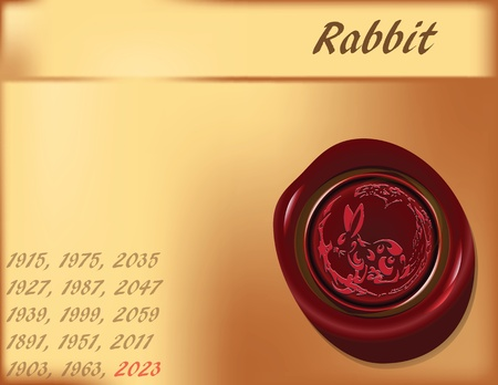 cony: Symbol, the rabbit on the eastern calendar. Vector illustration.