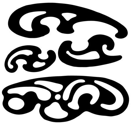 Tekening patronen voor grafische bouw van complexe gebogen vormen. Vector illustratie.
