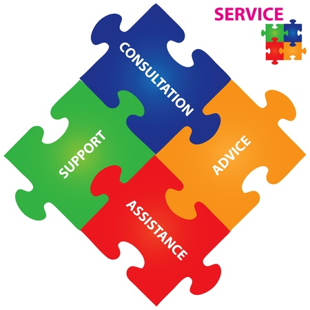 consulting concept: Vector illustration of puzzles with words on the topic of service.