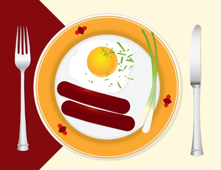 scrambled: A light breakfast with scrambled eggs, sausage and green onions. Vector illustration. Illustration