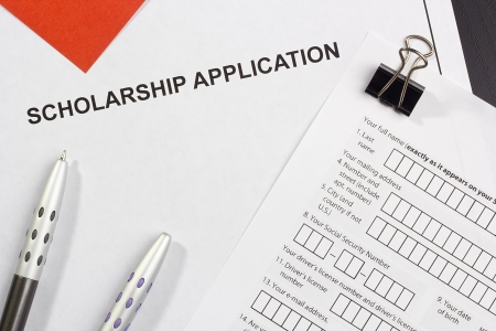 university application: Directly above photograph of a scholarship application.