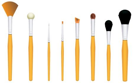 Een set van cosmetische borstels voor make-up Stock Illustratie