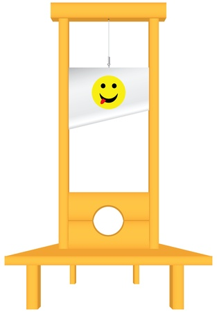 guillotine: The instrument of punishment - with a cheerful face on the guillotine