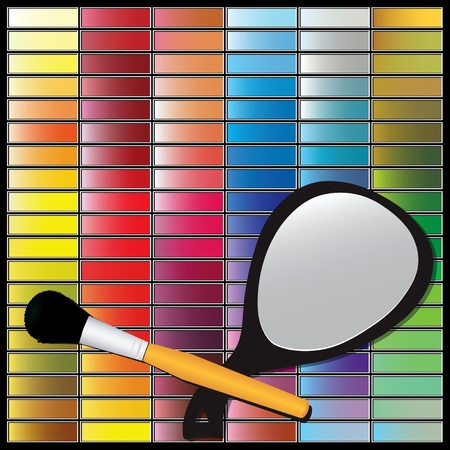 Cosmetic set with shadows makeup, cosmetic mirror and brush. Vector illustration.