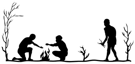 bask: People warm themselves by the fire. Vector illustration.