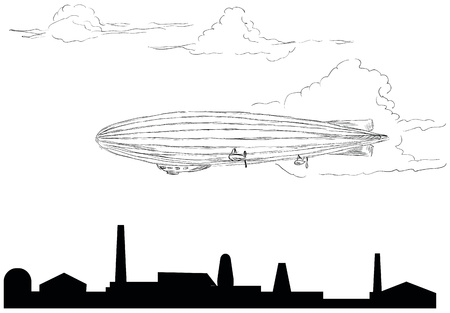 The airship flying over the plant. Vector illustration. Stock Vector - 13261385