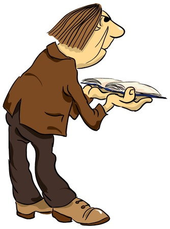 talmud: A man with an old book. Cartoon. Vector illustration.