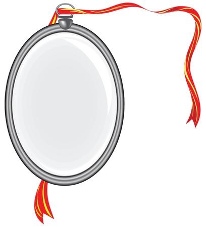 Silver medallion on a red ribbon. Vector illustration.