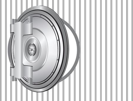 Open steel door banking on the lattice. Vector illustration. Illustration