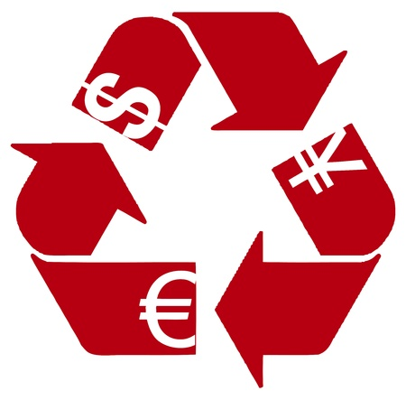 recycling: Dominating the world currency with the symbol processing. vector illustration. Illustration