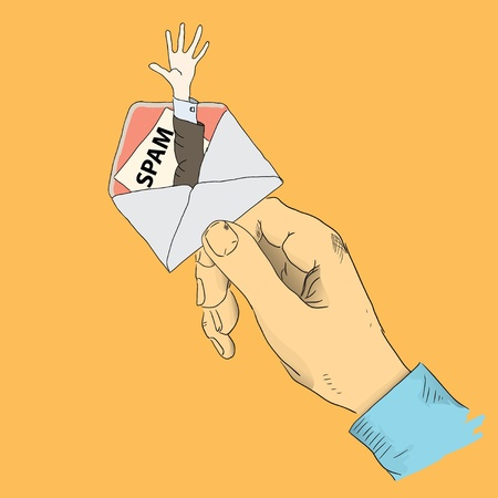 spamming: Creative with the spamming. The hand holding the envelope. Vector illustration. Illustration