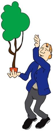 Ein Mann hält einen Topf mit einem Baum. Vektor-Illustration. Standard-Bild - 13339406
