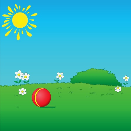 Lawn for children to play. Vector illustration.