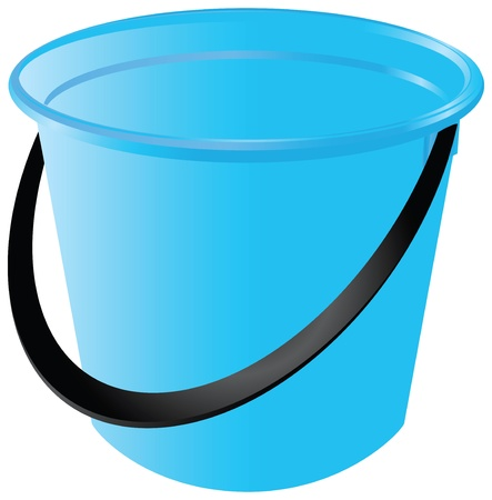A blue plastic bucket for children to play, or household purposes. vector illustration. Çizim