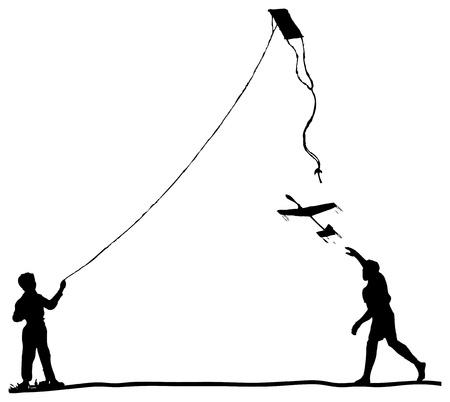Children run the kite and model glider 일러스트