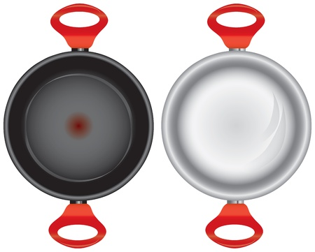 Steel and Teflon pans with double silicone red handles. Vector