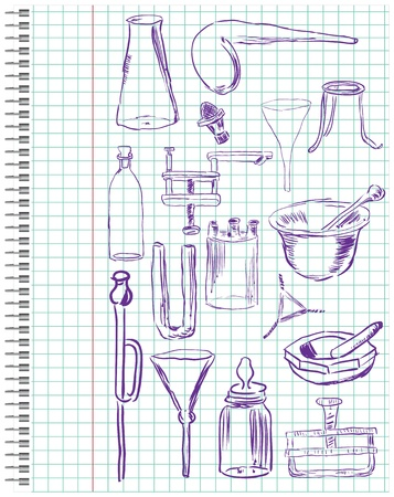 funnel: A set of chemical equipment in a school notebook in the box.