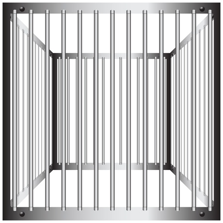 Steel cages with vertical bars. Illustration
