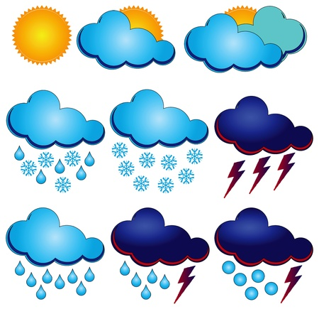 clouds: Synoptic symbols for different weather conditions.