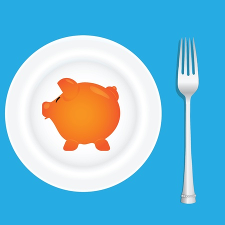 A plate with a picture of a pig and fork. Vector illustration.