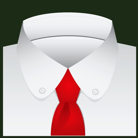 shirt and tie: Mens classic shirt with a semi round collar and buttons. vector illustration.