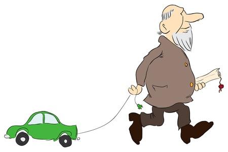 환경 친화적 자동차의 발명가. 벡터 일러스트 레이 션, 만화. 유머. 일러스트
