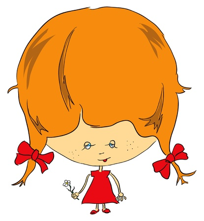 lassie: A girl in a red dress with a flower. Vector illustration.