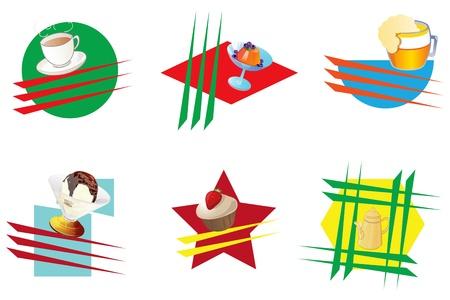 Icons für Cafés und Bars. Vektor-Illustration. Standard-Bild - 13470784