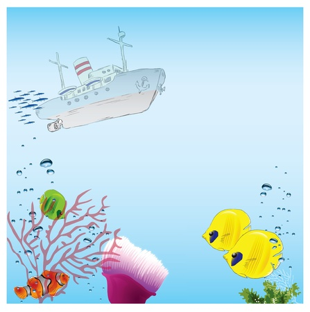 keel: Ship out of the water and marine life. Vector illustration.