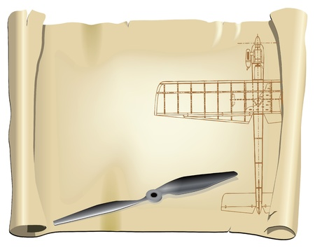 plot: Parchment with a drawing for a model aircraft with a sports fan. Vector illustration. Illustration