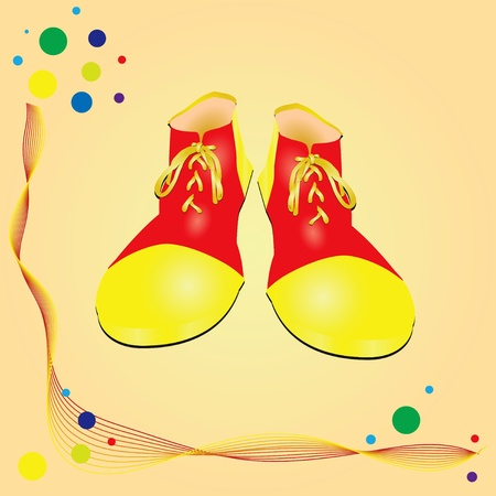 The circus theme clown shoes. Vector illustration.