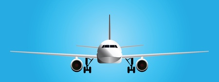 A modern passenger aircraft with the gear. Vector illustration.