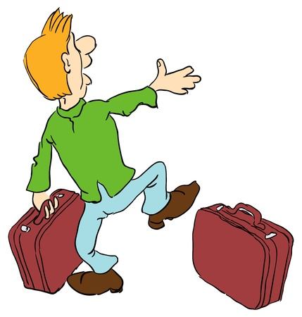 funny pictures: Tourist with two suitcases. Vector illustration. Cartoon.