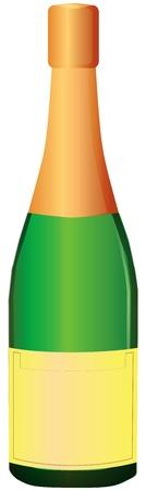 Een fles champagne met bladgoud op de kurk. Vector illustratie.